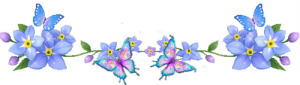 ленточка цветы - синяя